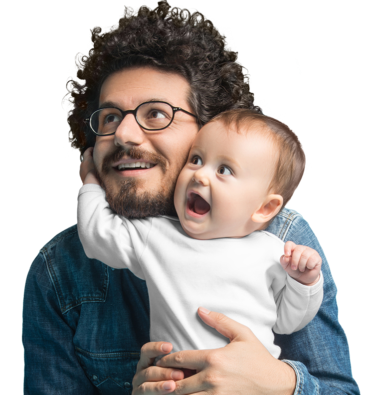 portrait of a father holding their child